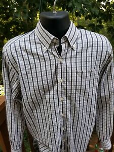 PETER MILLAR Mens Blue Tan & Black Plaid/Check Dress Shirt Size MEDIUM