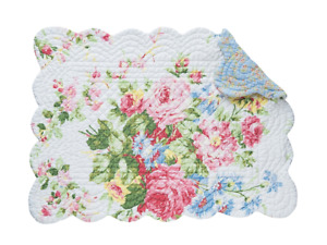COTTAGE ROSE Reversible Placemat by C&F-  Floral on White