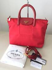 New with Defect Prada Tessuto Saffiano BN2541 Red Tote Hand or Nylon Sling Bag
