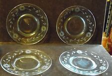 4 Vintage Etched Floral Clear Glass 8 1/4 Inch Diameter Luncheon Plates