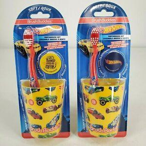 Brush Buddies Boys Tooth Brush Set Hot Wheels Soft Tooth Brush Rinsing Cup/Cap