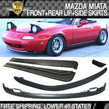Fits 90-97 Miata MX5 RS Style PU Front + Rear Bumper Lip + FD Style Side Skirt