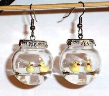 Ohrringe Ente Tiere Insekten Damen Ohrschmuck Modeschmuck Glas Edelstahl Rund