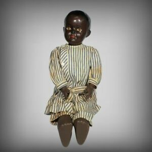 """⭐ ANTIQUE FRANCE #40 BLACK AFRICAN AMERICAN PLASTIC CELLULOID 20"""" JOINTED DOLL"""