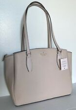 New Kate Spade Monet Large Triple compartment Tote Leather Warm Beige