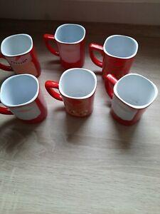Nescafé Kaffetassen Becher rot Wintermuster Weihnachten 6 Stück