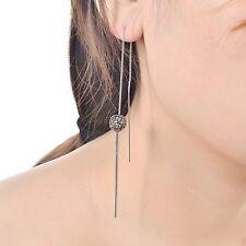 Stunning Crystal Shamballa Ball Bead Silver Long Bar Drop Dangle Stud Earrings