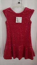 Brand New Pink Velour with Sequin Girls Dress Size 14