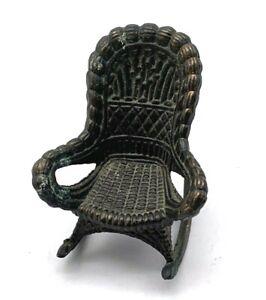 Vintage Dollhouse Rocking Chair Durham Industries Metal Wicker