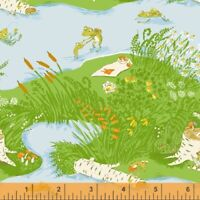 Froggy Heather Ross 20th Anniversary Windham Cotton Quilt Fabric 37022A 1 Green