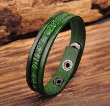Jg369 Green Rock Single Wrap Vintage Embossed Leather Wristband Bracelet Cuff