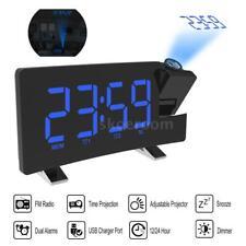 Radiowecker mit Projektion Funkuhr LED USB Funk Projektion Alarm Funkwecker