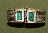 Vintage hand made brass cuff hinged bracelet