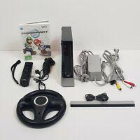 NINTENDO Wii Black Console Mariokart Bundle Inc 1 Controller + Wheel + Game