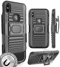 BLACK MAGNET GRIP CASE + BELT CLIP HOLSTER STAND FOR APPLE iPHONE X /