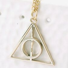 RF GOLDEN Deathly Hallows Harry Potter  Triangle Pendant Necklace Chain