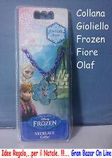 COLLANA GIROCOLLO FROZEN a FIORE con OLAF Idea Regalo di Natale Compleanno