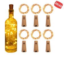 6pcs String Led Fairy Wine Bottle With Cork Shape 20 LED Bottle Lights Wire Lamp