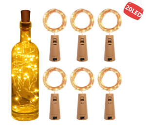 6pcs String Led Fairy Wine Bottle With Cork Shape 20 LED Bottle Lights Wire Lamp