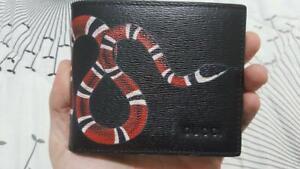 Gucci Black Leather Snake Bifold Wallet - Card Wallet for Men