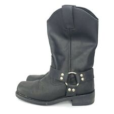 "Bonanza Boots Black 12"" Biker Harness Leather Size 7"
