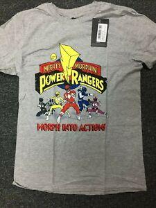 Official Men's Grey Marl Power Rangers T-Shirt x store retro