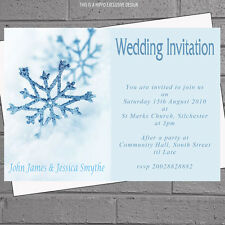 Snowflake Winter Wedding Invitations Evening Day Reception x 12 with env H0382