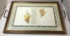 Large Vintage Wooden Serving Tray - Breakfast In Bed - Lace Border Embroidery