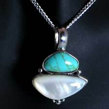 CONTEMPORARY TURQUOISE / MO-PEARL PENDANT_NECKLACE w/CHAIN__925 STERLING SILVER