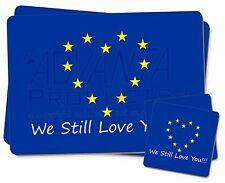 British Brexit, Europe 'We Still Love You' Twin 2x Placemats+2x Coa, BRITISH-4PC