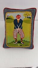 Needlepoint Golf Golfer Pillow