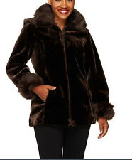 NEW Dennis Basso Faux Sheared Mink Bomber Jacket Detachable Hood CHOCOLATE MED M