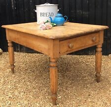 Victorian Round Cornered Solid Pine Kitchen Table With Drawer