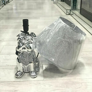 Silver Crushed Diamond Dog Crystal Lamp Shade Ornament Home Decor Gift Diamante