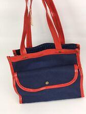 "8.5"" VTG Navy Blue Red Canvas Hand Bag Purse Rockabilly Retro 50s 60s Unbranded"