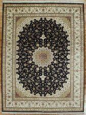 Handmade Rug 9x12 Black High End Oriental Zhenping Collection Silk Tabriz Rug