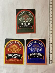 3 OLD WETHERED, MARLOW BREWERY BEER LABELS LOT 113