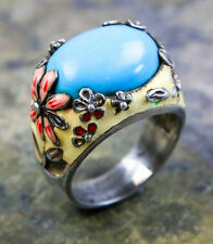 Vintage Floral Enameled Sterling Silver Oval Turquoise  Ring Size:8.75
