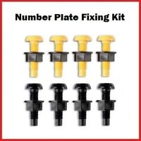 Yellow & Black Plastic Number Plate Screws Nuts Bolts Fixings Fittings Fixers x8