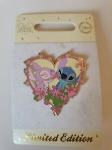 88881 LE 350 Stitch And Angel Valentines Day Pin 2012 Disney Store Europe UK