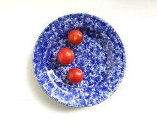 VINTAGE BURNHAM POTTERY COBALT BLUE & WHITE HAND-CRAFTED CERAMIC GLAZED PLATE