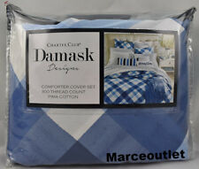 Charter Club Damask Designs Painted Plaid FULL / QUEEN Duvet & Shams Set Blue