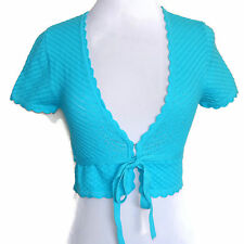 NWT Guess Jeans Cropped Shrug Riviera Blue Tie Front Cardigan Sweater Small - S