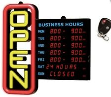 Green Light Innovations Open Sign with Business Hours