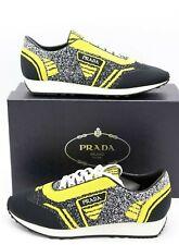 NIB Prada Mens Retro Black Yellow Fabric Trainers Sneakers Shoes 9.5 $760 New