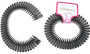 Shimmers - 2 Pack Black Flexi Zig Zag Band Comb Grip Donut Hair Lift Bun Maker