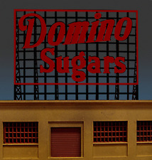 DOMINO SUGARS ANIMATED NEON BILLBOARD SIGN FOR O-SCALE-LIGHTS, FLASHES & MORE!!