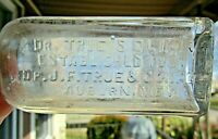 "Antique Quack Med Bottle Embossed ""Dr. True's Elixir Est 1851 Auburn ME""~ Dug"