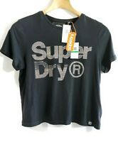 Superdry Women Boxy T-Shirt Black Silver Rhinestone Self Design Round Neck Sz L
