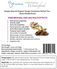 Simply Natural Ginger Root Cinnamon Herbal Tea (30 Bags) Heart Health Brain